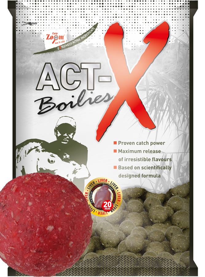 CARP ZOOM Act-X Boilies Strawberry (jahoda) 16 mm